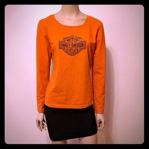 Harley Davidson Womens Shirt Orange Size M